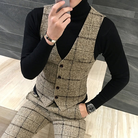 Quality Thick New Men Vest Winter Woolen Fashion Plaid Vest