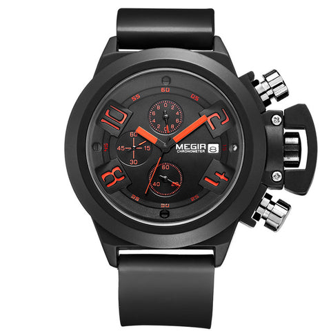 Men's watches Classical style Silicone band Chronograph Military Sport Quartz watch men
