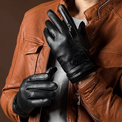 Men's Genuine Leather Gloves Goatskin Belt Button Black Plus Velvet Warm Gloves