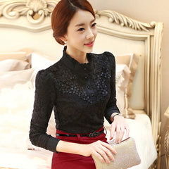 Women Long Sleeve Fashion Lace Floral Patchwork Chiffon Blouse