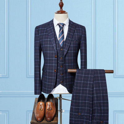 Single Breasted plaid casual suit men, men's Business suits