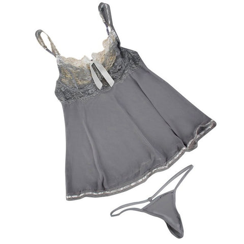 Gray Women Sleepwear Lingerie Underwear Lace Dress G-string