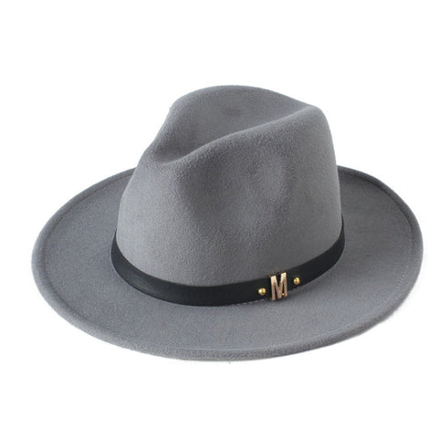 Men's Black Dad Fedora Hat For Gentleman Woolen Wide Brim Jazz Church Cap Vintage Panama