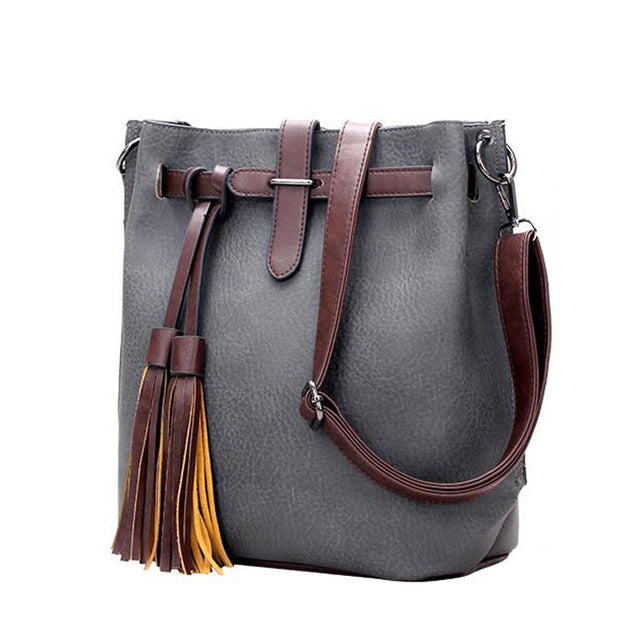 Women Composite Leather Handbags Tassel Fashion Designer Messenger Bag