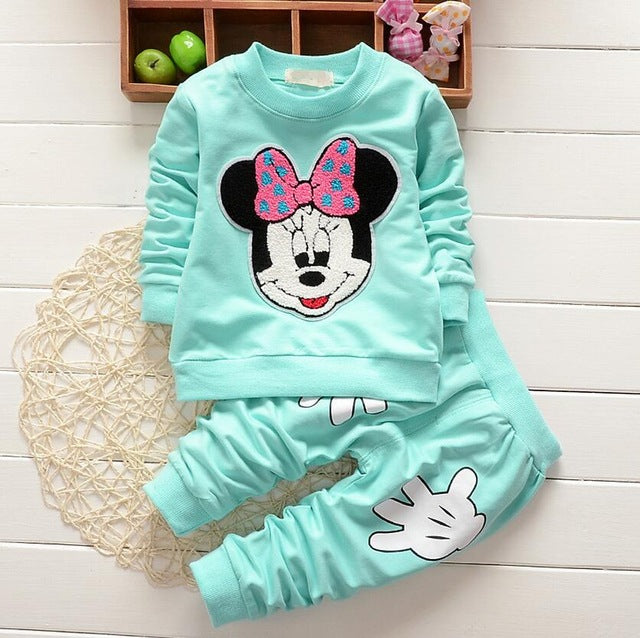 Girls sports suit baby girls tracksuit Cartoon Minnie Children