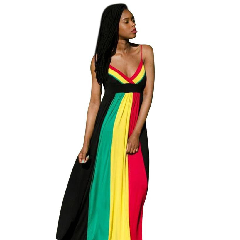 Womens Long Dress  Fashion High Waist Sexy Halter Mixed Colors With Chest Pad Dress