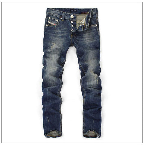 Men Straight Dark Blue Color Printed Mens Jeans Ripped Jeans