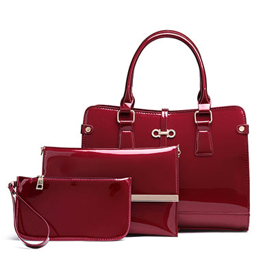 High Quality 3 Sets Patent Leather Women Handbags And Purse Fashion Composite Bag