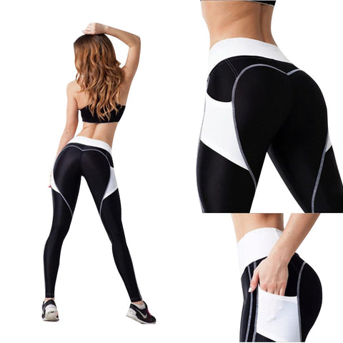 Heart Leggings Women Fitness Workout Sporting Pants Breathable Elastic Waist Exercise Clothing