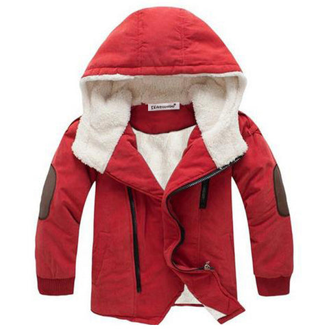 Boys and Girls Coats Long Sleeve Children Cotton Warm Hooded