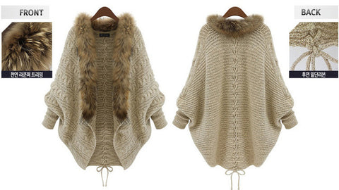Girl's autumn winter sweater coatwool collar knit long sweater coat