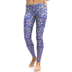 Women Leggings Fresh Lotus Printing Woman Leggings Aztec Round Ombre Fitness Trousers