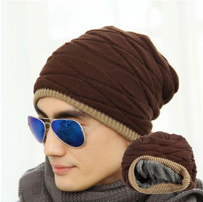 Unisex Beanies Warm Knitted Hat Man And Women Winter Hat Solid Color Elastic Two Styles Cap