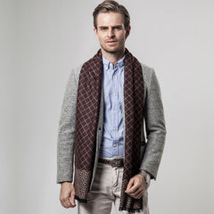 Winter Scarfs Men's Business Plaid Scarf Cashmere Scarves