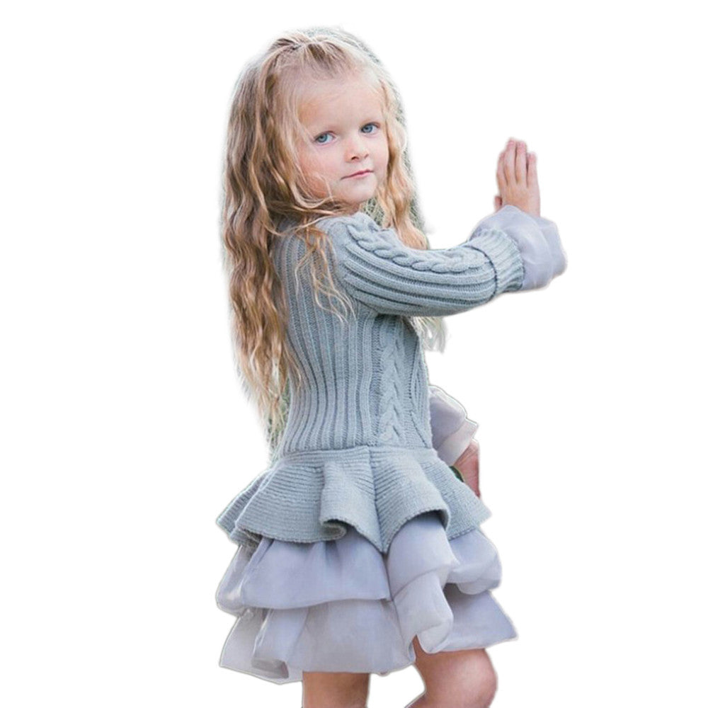 Kids Girls dresses Knitted Sweater Winter Pullovers Crochet Tutu Dress girl Clothes