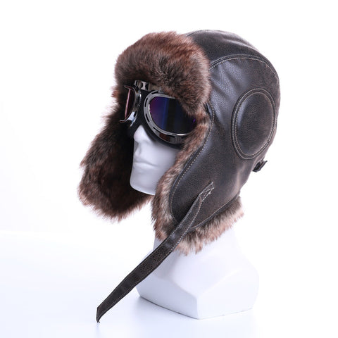 Winter Bomber Hat Plush Ear-Flap Russian Ushanka with Goggles