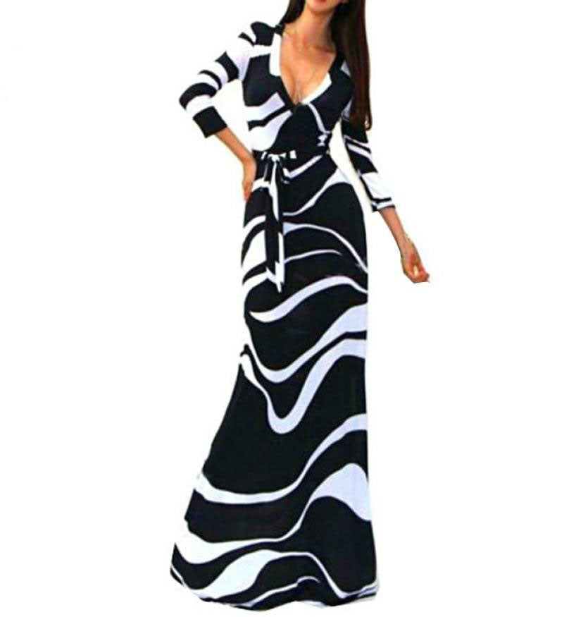 Women's Striped V Neck 3/4 Sleeve High Waist Black Long Maxi Dress with Sashes
