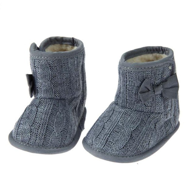 Baby Crib Shoes Prewalker Boots Infant Toddler Boy Girls Non Slip Fleece Boots Knitted Wool Bow