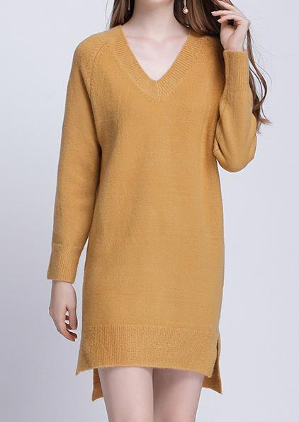 V-neck Poncho Pull V Collar Long Sweater Dress