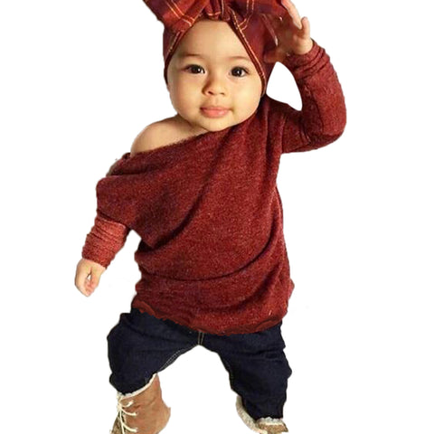 2pcs Girls Solid Color Long Sleeve Knitted Sweater+ Long Jean Pants