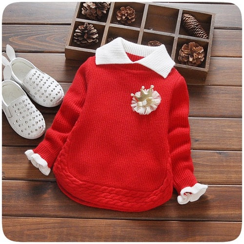 Baby Girls Long Sleeve Lapel Collar Crown Knitwear Pullover Knitted Sweaters
