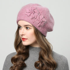 Women winter hats with rhinestones rabbit fur