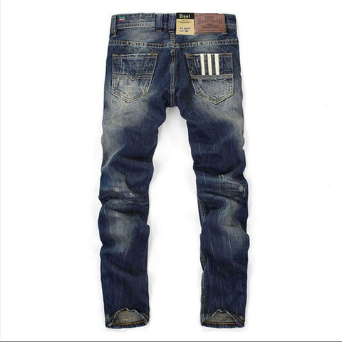 Men Jeans Straight Dark Blue Color Printed Jeans Men Ripped Jeans