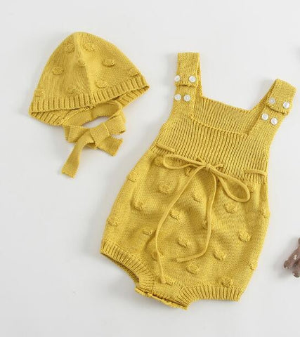 New Baby Bodysuits Knitted Bodysuits for Baby Girls Sleeveless Cotton Outerwear with Hat