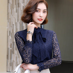 Elegant Blouse Vintage Crochet Print Lace Shirt Autumn Winter Lace