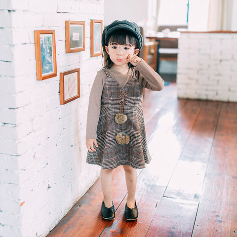 Autumn Girls Blouse and Plaid Dress Clothing Sets