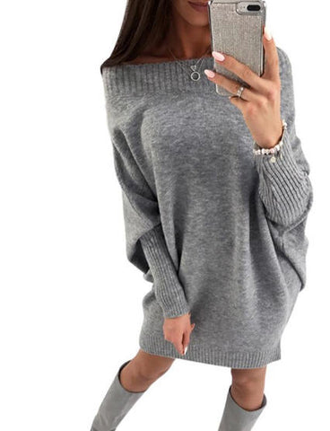 Women Sweater Dress Autumn Winter Long Sleeve Sweater Pullover