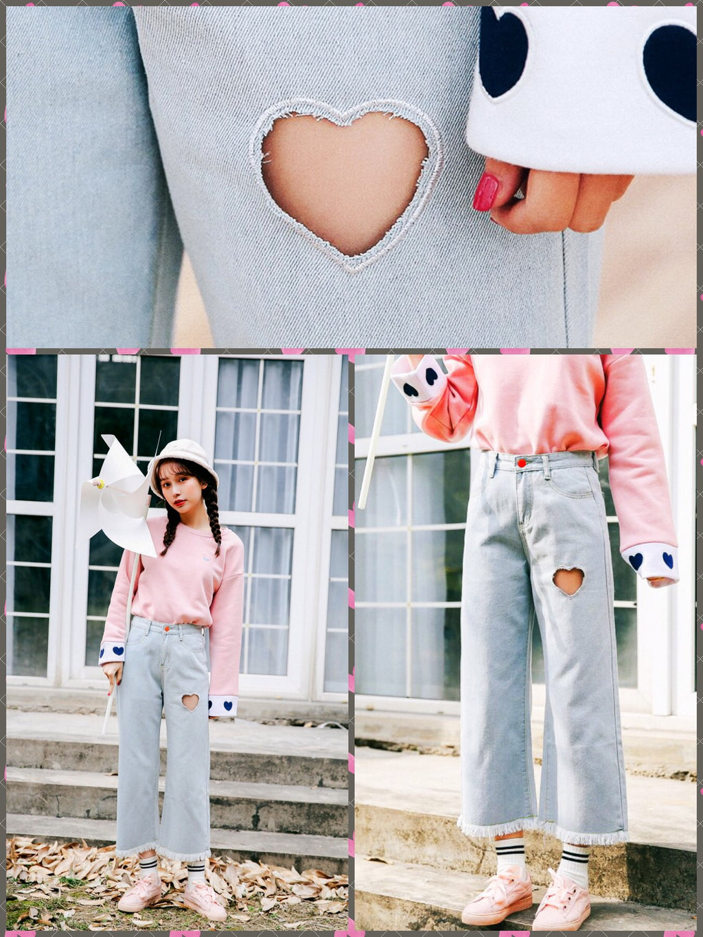 BlissGirl - Heart Wide Leg Jeans - L - Harajuku - Kawaii - Alternative - Fashion