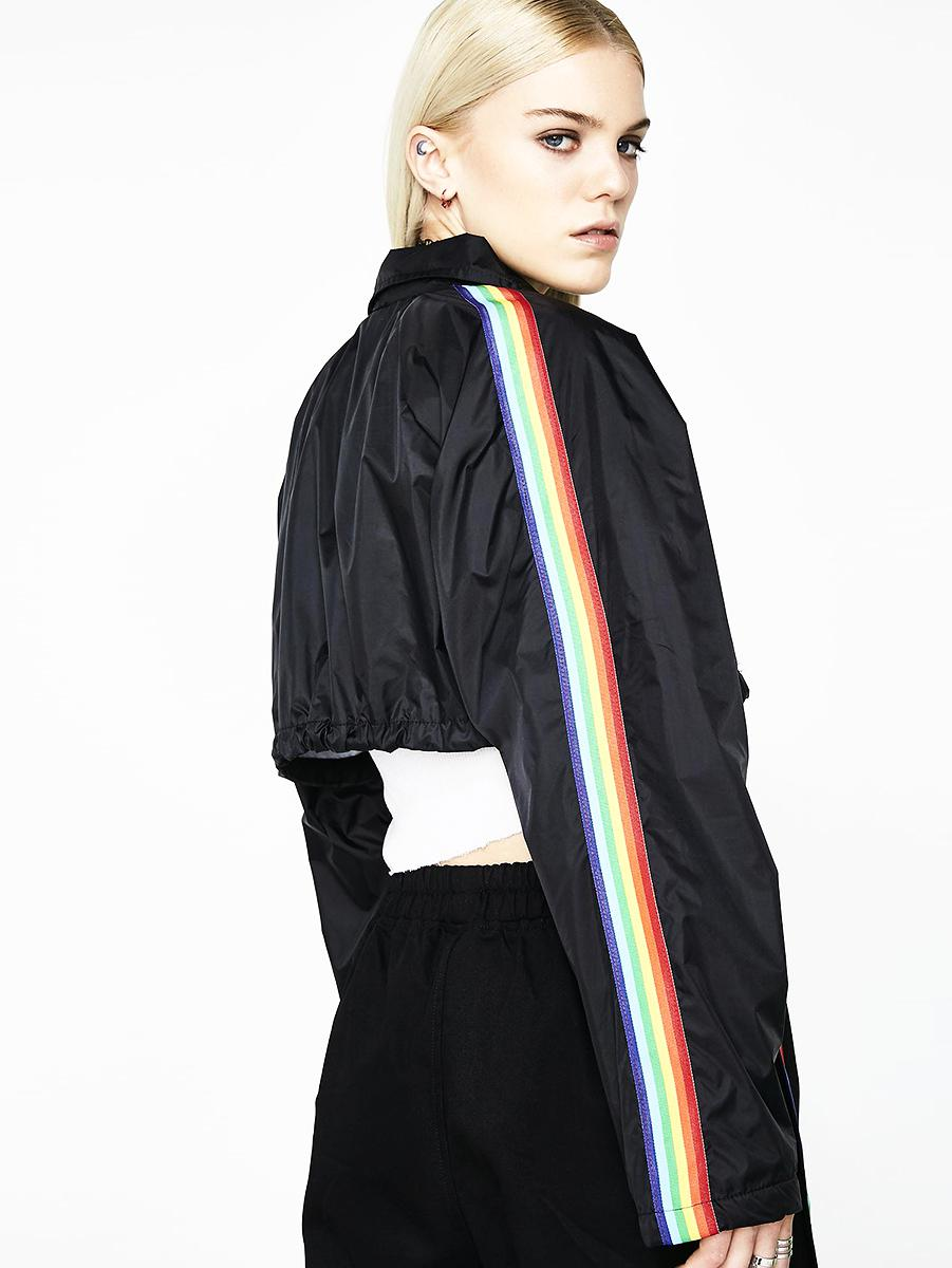 BlissGirl - Rainbow Cropped Jacket - Harajuku - Kawaii - Alternative - Fashion