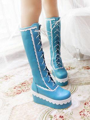 BlissGirl - Candy Lolita Platform Boots - Blue / 46 - Harajuku - Kawaii - Alternative - Fashion