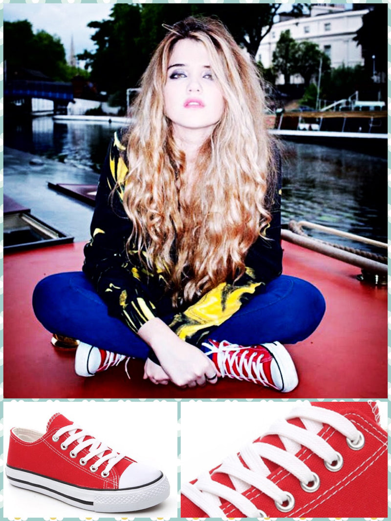 BlissGirl - Old School Canvas Sneakers - Red Low / 43 - Harajuku - Kawaii - Alternative - Fashion