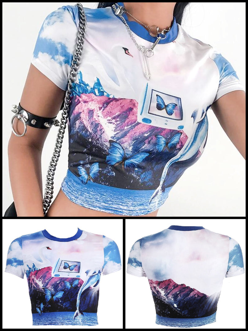 BlissGirl - Butterfly Scape VaporWave Crop Top - S - Harajuku - Kawaii - Alternative - Fashion