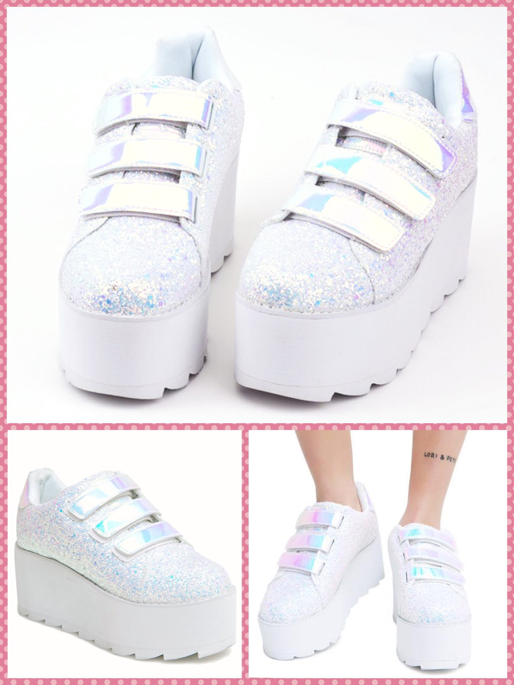 BlissGirl - Hologram Sparkle & Velvet Platforms - Silver / 36 - Harajuku - Kawaii - Alternative - Fashion