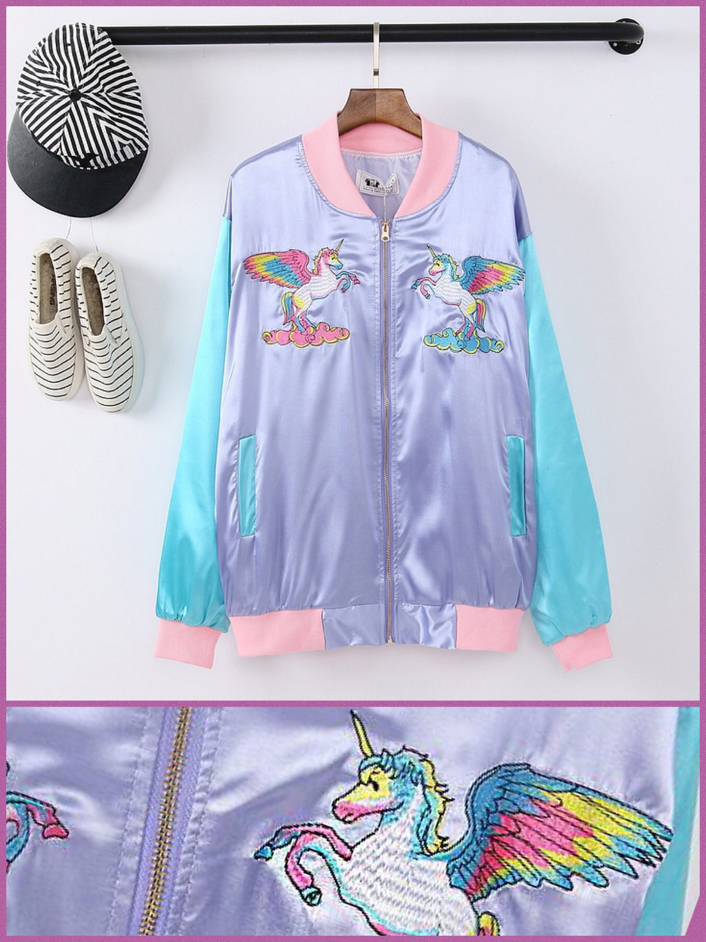 BlissGirl - Pastel Unicorn Bomber Jacket - Violet / M - Harajuku - Kawaii - Alternative - Fashion