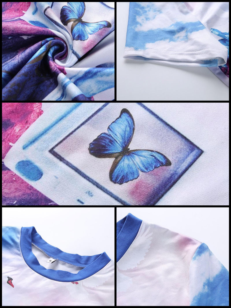 BlissGirl - Butterfly Scape VaporWave Crop Top - - Harajuku - Kawaii - Alternative - Fashion