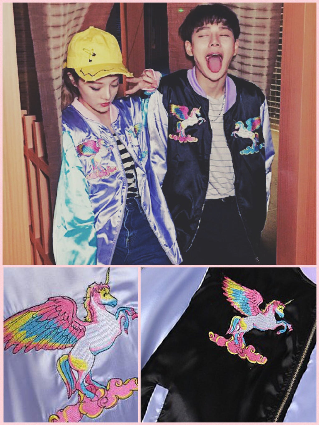 BlissGirl - Pastel Unicorn Bomber Jacket - - Harajuku - Kawaii - Alternative - Fashion
