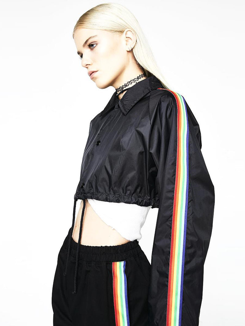 BlissGirl - Rainbow Cropped Jacket - - Harajuku - Kawaii - Alternative - Fashion
