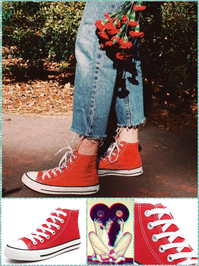 BlissGirl - Old School Canvas Sneakers - Red High / 35 - Harajuku - Kawaii - Alternative - Fashion