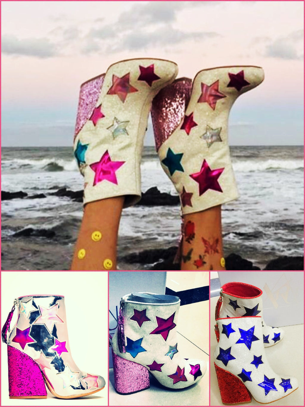 BlissGirl - You're A Star Sparkle Boots - - Harajuku - Kawaii - Alternative