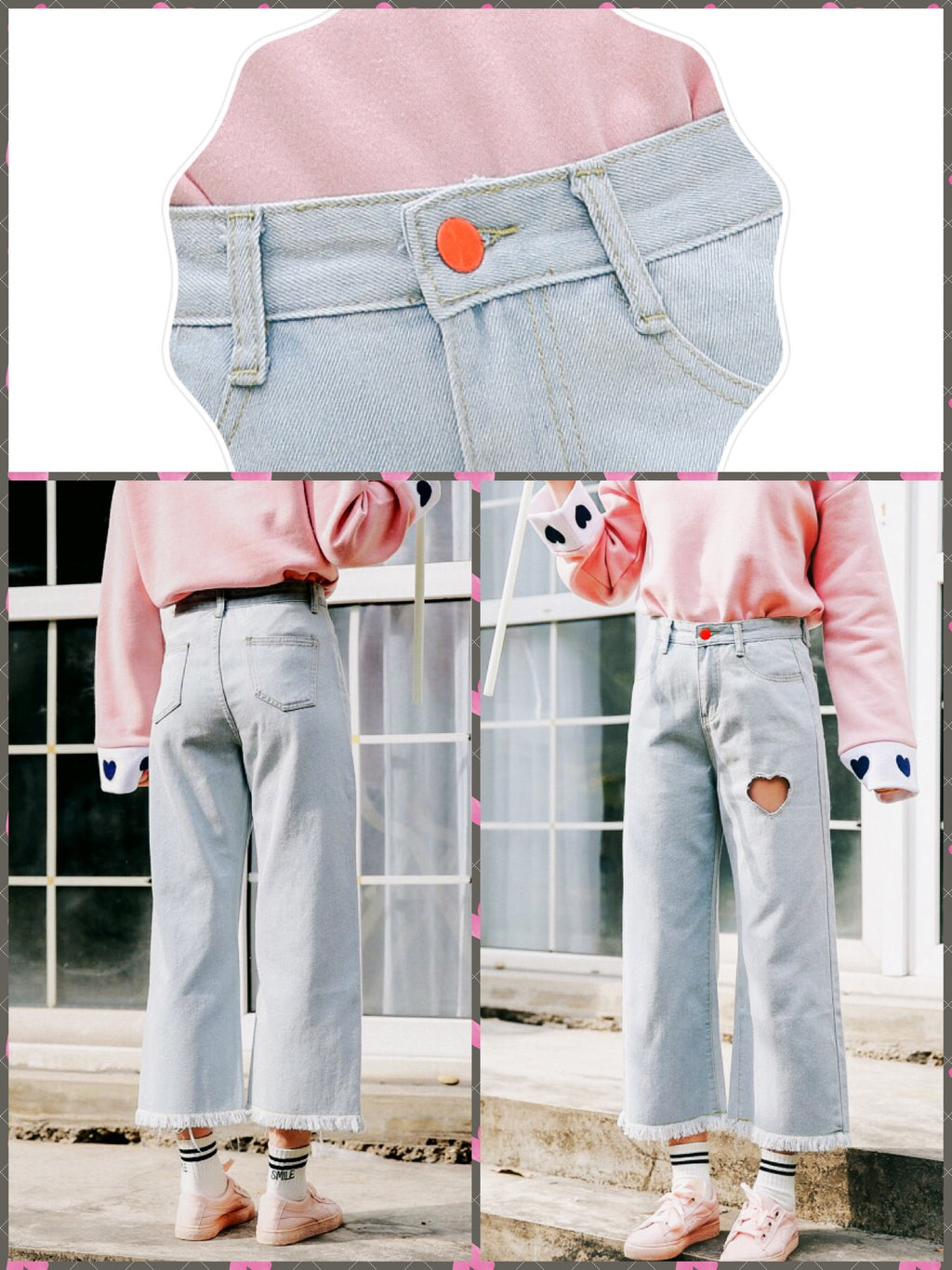 BlissGirl - Heart Wide Leg Jeans - Harajuku - Kawaii - Alternative - Fashion