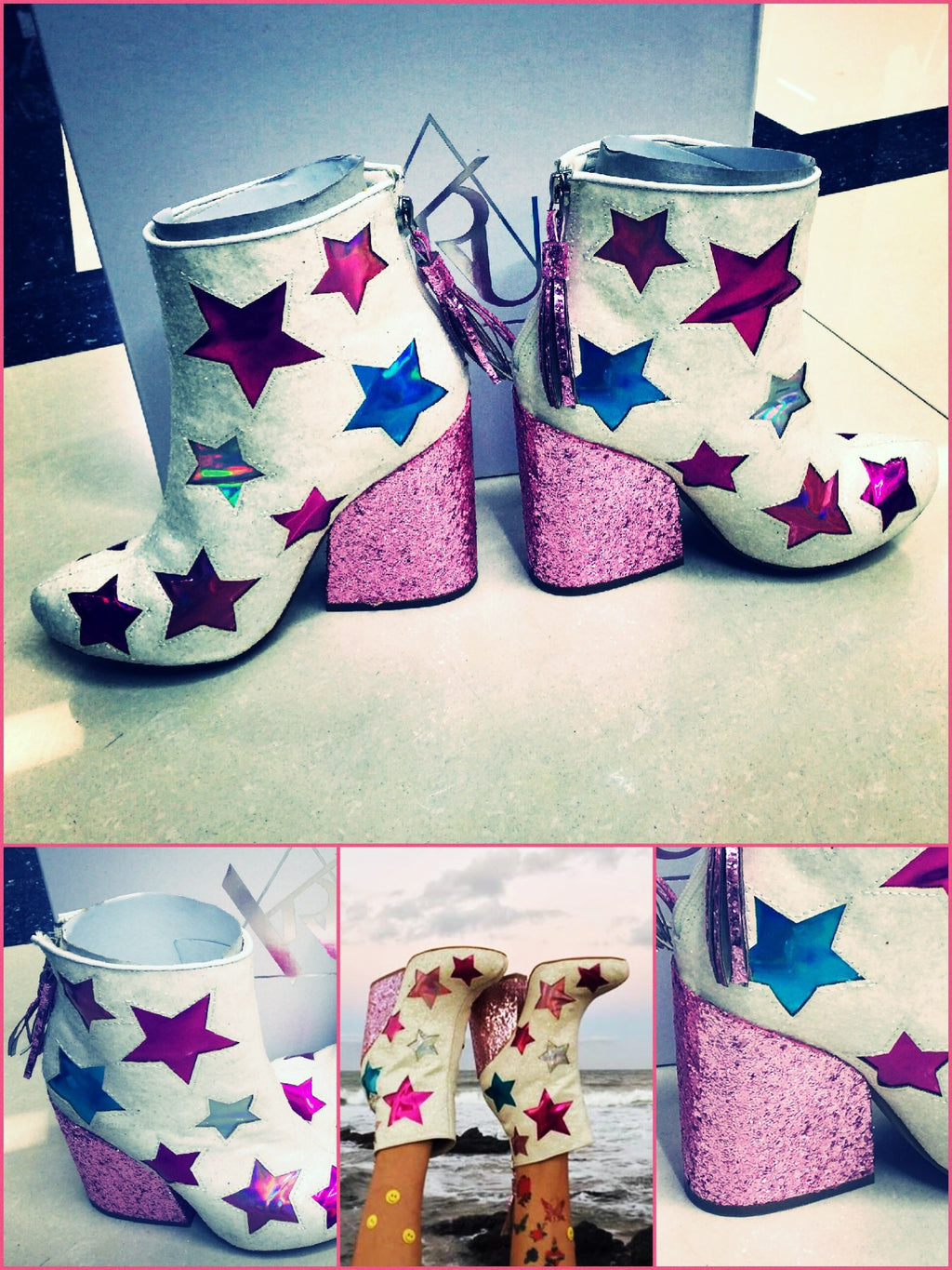 BlissGirl - You're A Star Sparkle Boots - White / 40 - Harajuku - Kawaii - Alternative