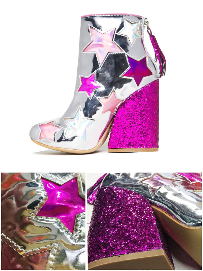 BlissGirl - You're A Star Sparkle Boots - Silver / 37 - Harajuku - Kawaii - Alternative - Fashion