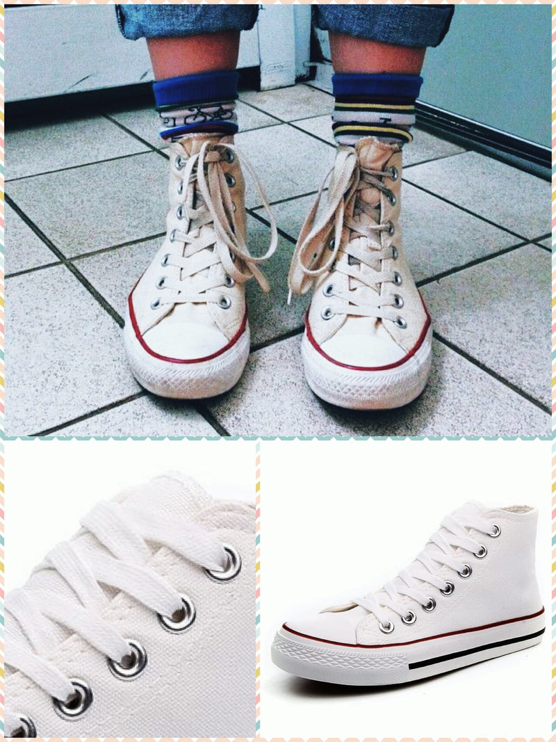 BlissGirl - Old School Canvas Sneakers - White High / 36 - Harajuku - Kawaii - Alternative - Fashion