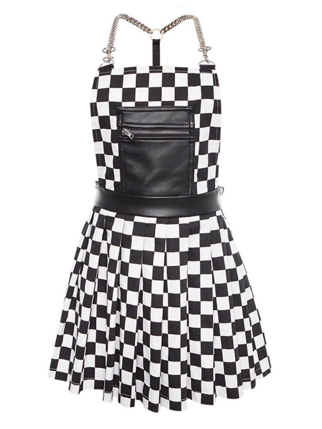 BlissGirl - Black and White Checkered Romper - S