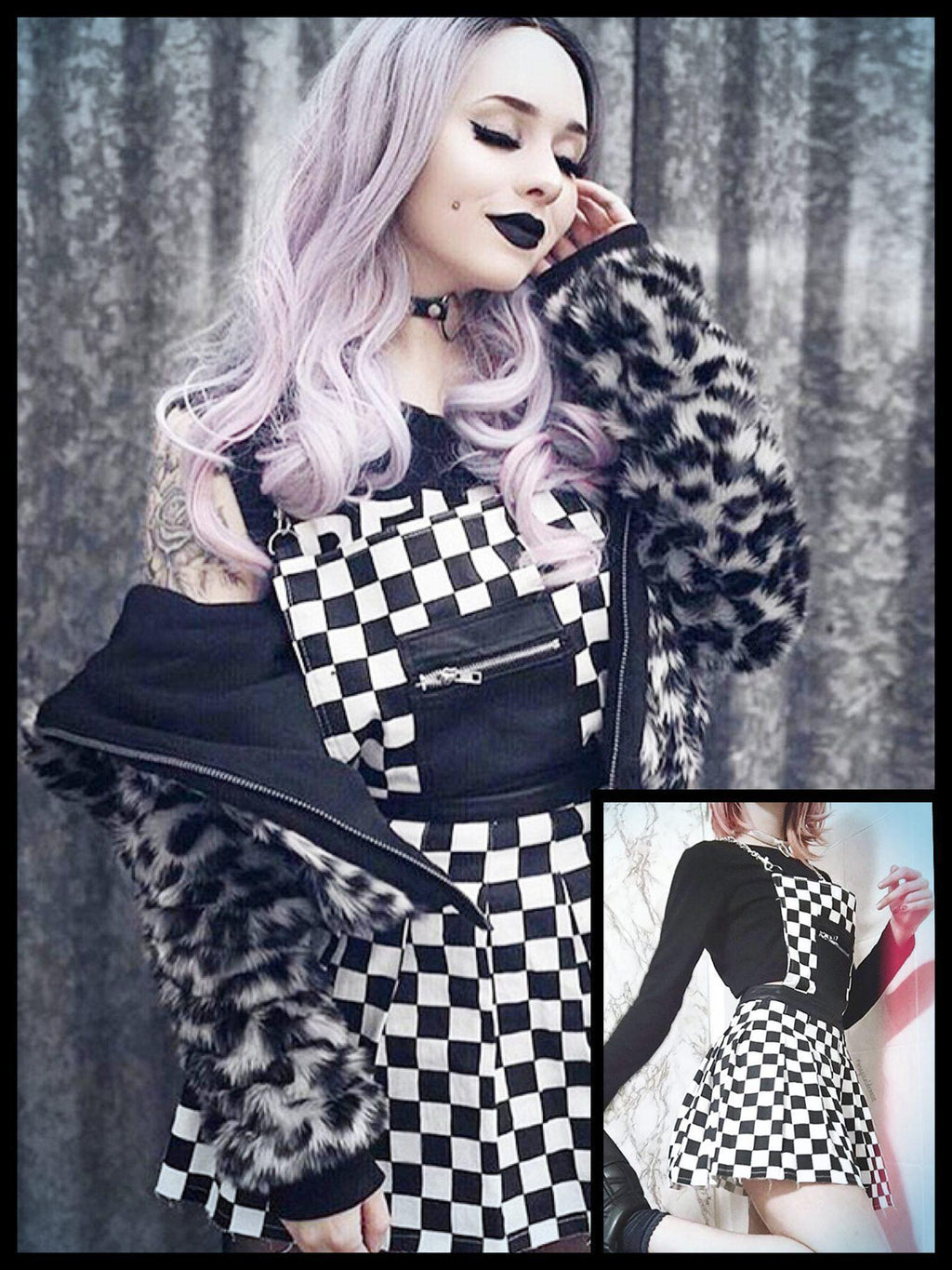 BlissGirl - Black and White Checkered Romper - S - Harajuku - Kawaii - Alternative - Fashion