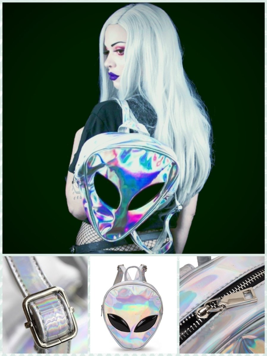 BlissGirl - Alien Holoscene Backpack - Silver - Harajuku - Kawaii - Alternative - Fashion
